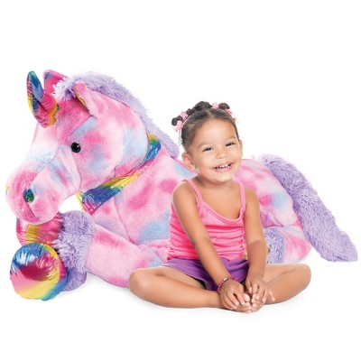 Best Choice Products 52in Kids Extra Large Plush Unicorn, Life-Size Stuffed Animal Toy w/ Rainbow Details