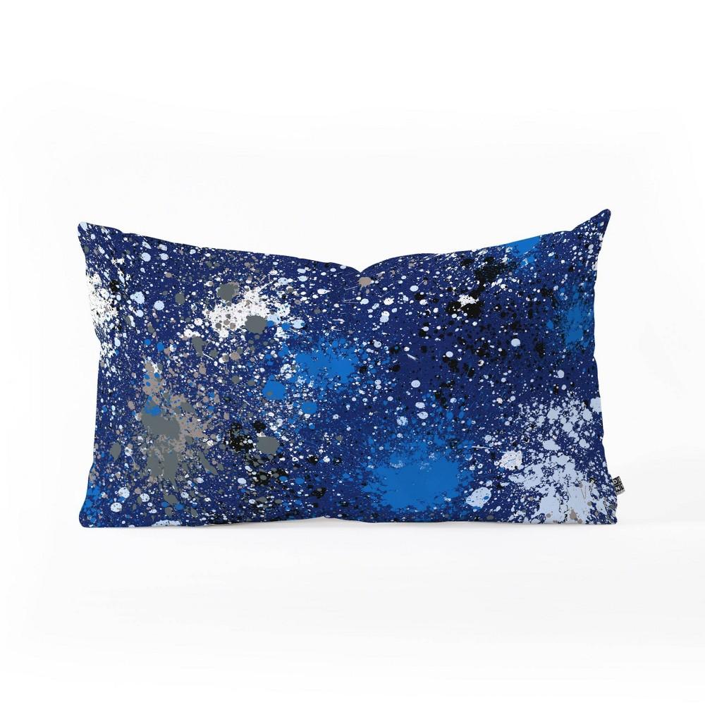 Ninola Design Ink Splatter Oblong Lumbar Throw Pillow Blue Deny Designs
