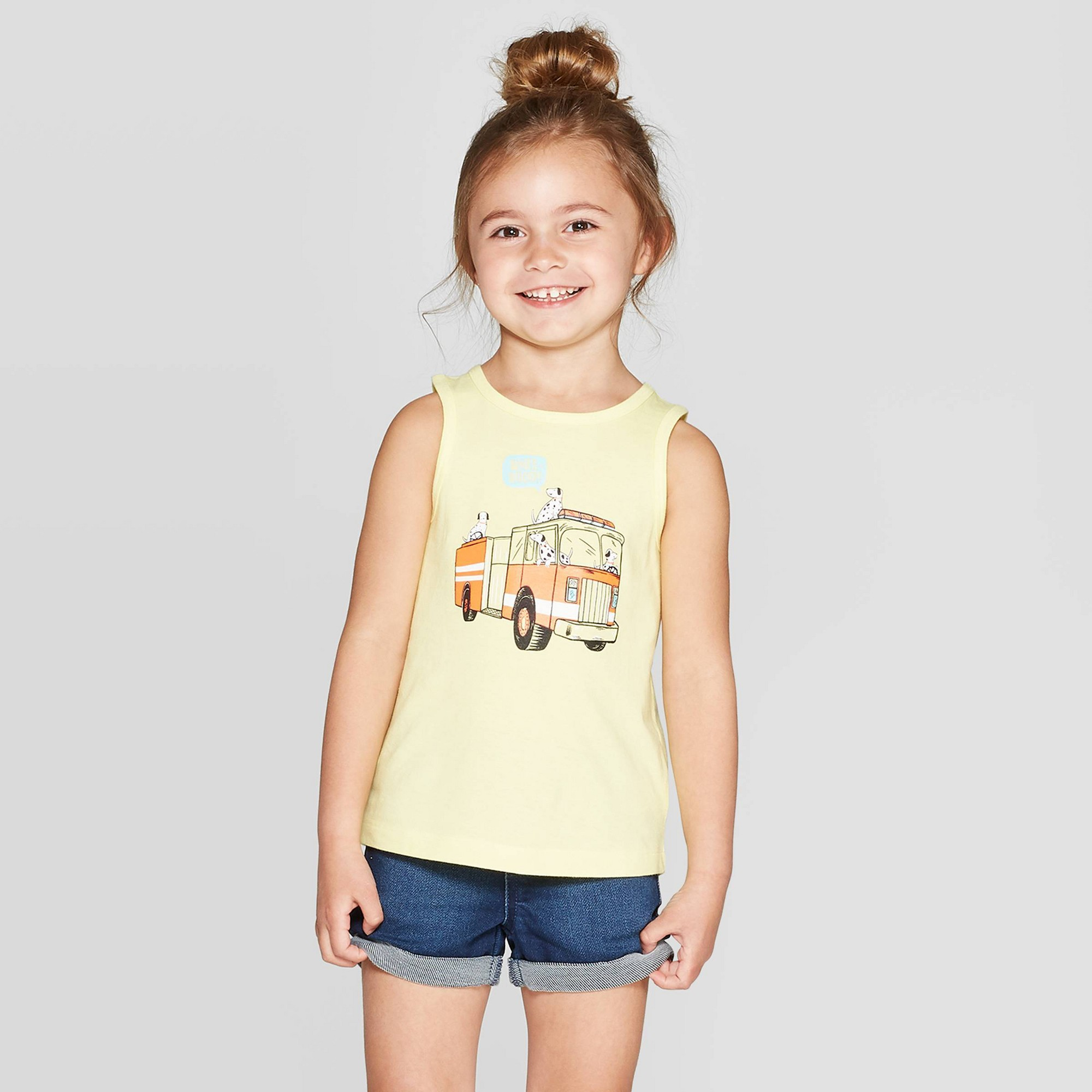 Toddler Girls' 'Fire Trucks' Graphic Tank Top - Cat & Jack Yellow 18M