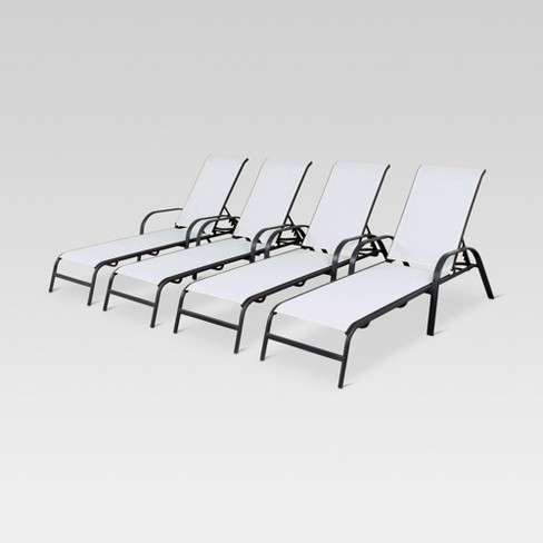 4pk Stack Sling Patio Lounge Chair White Threshold Target