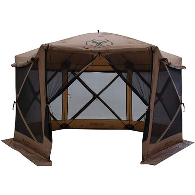 Gazelle Tents G6 Portable Deluxe Pop Up 6 Sided Hub Gazebo Screen Tent with Easy 60 Second Set Up and Zippered Door, Fits 8 People and Table, Brown