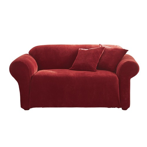 Stretch Pique Sofa Slipcover Garnet - Sure Fit, Red