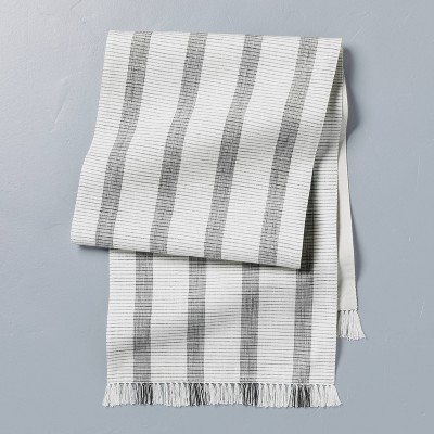 Bold Stripes Fringe Table Runner Dark Gray/Sour Cream - Hearth & Hand™ with Magnolia