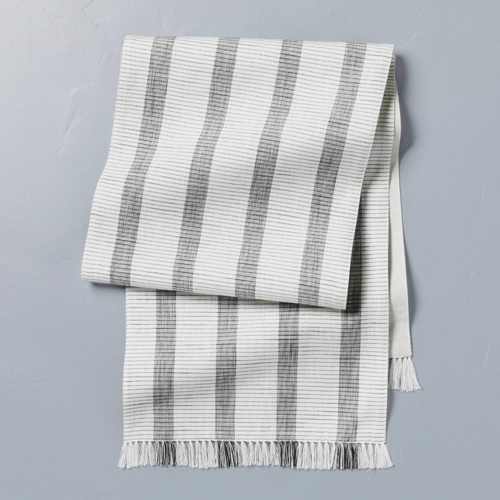 Bold Stripes Fringe Table Runner Dark Gray Sour Cream Hearth 38 Hand 8482 With Magnolia