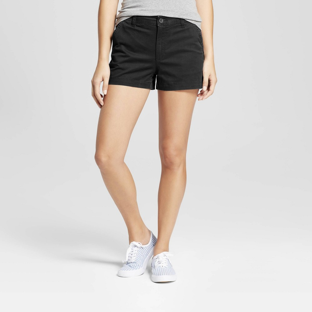 Women's 3 Chino Shorts - A New Day Black 0