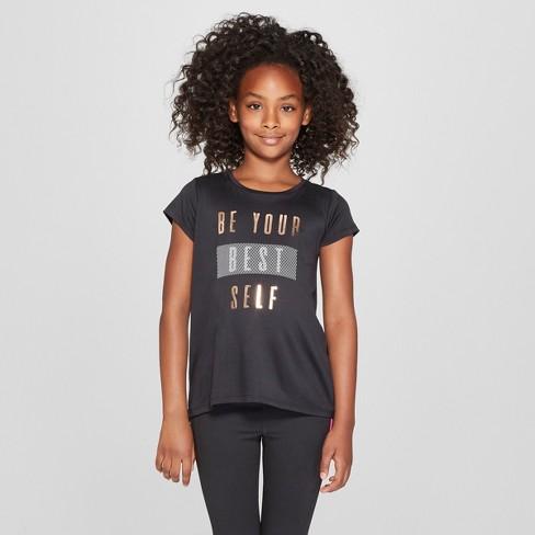 098b51d7e1ae Girls  Be Your Best Self Graphic Tech T-Shirt - C9 Champion® Black ...