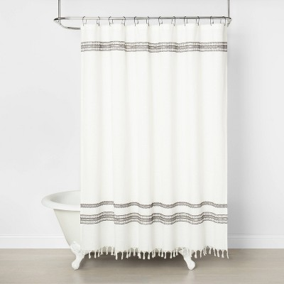 Embroidered Shower Curtain Railroad Gray - Hearth & Hand™ with Magnolia