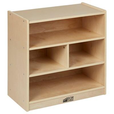 "ECR4Kids Building Block Storage Cart - 4-Cubby Birch Cabinet on Casters, 24"" H"