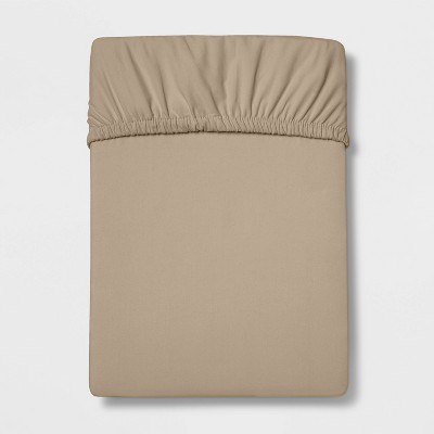 Queen 300 Thread Count Herringbone Ultra Soft Fitted Sheet Tan - Threshold™