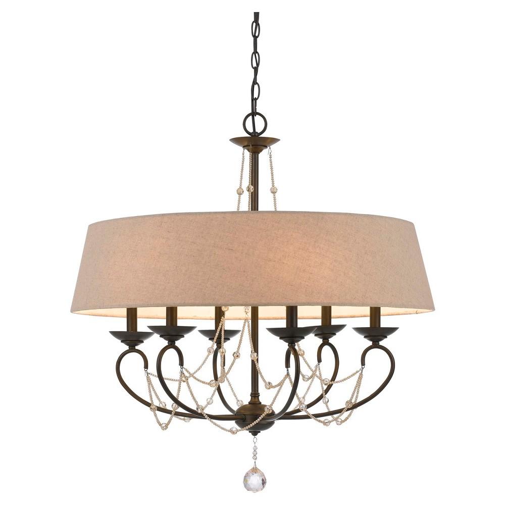 Cal Lighting Dawson Metal & glass6 light Chandelier, Bronze