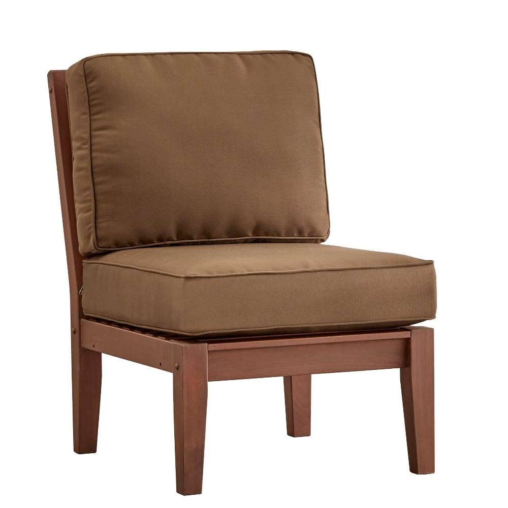 Parkview Wood Patio Chair with Cushions - Brown/Brown - Inspire Q