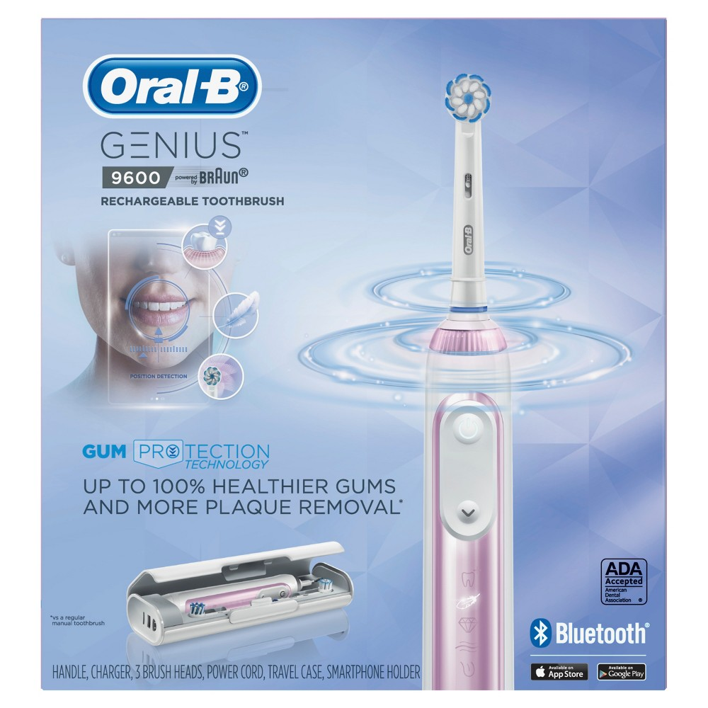 Oral-B Sakura Pink Genius 9600 Rechargeable Electric Toothbrush Powered By Braun with JetSet Charger
