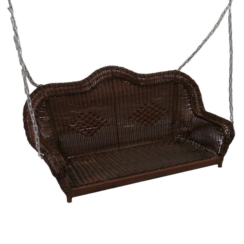 Image of International Caravan Chelsea Wicker Hanging Porch Swing - Antique Pecan, Ant Pecan