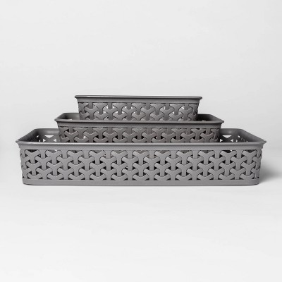 "2""x10"" 3pk Y Weave Cube Storage Basket Gray - Room Essentials™"