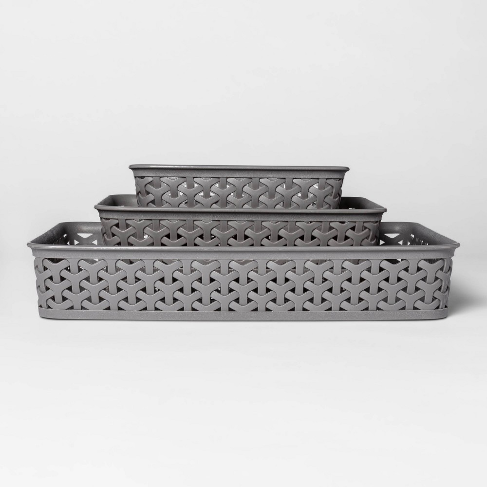 "Image of ""3pk Y-Weave Cube Storage Basket Gray 2""""x10"""" - Room Essentials"""