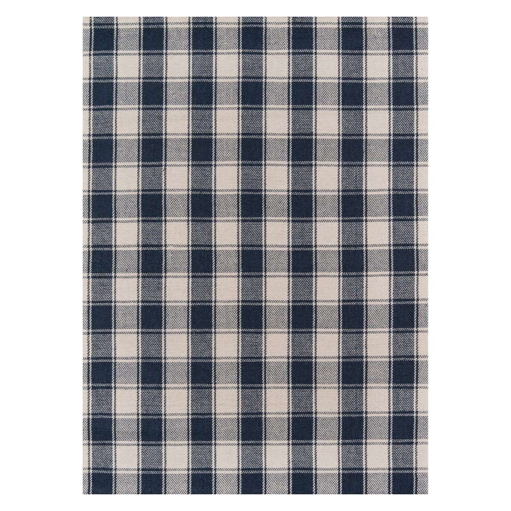 8'X10' Plaid Woven Area Rug Navy (Blue) - Erin Gates By Momeni