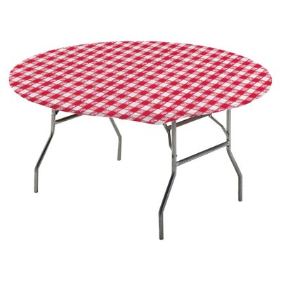 """Stay Put Tablecover Red Gingham, 60"""""""