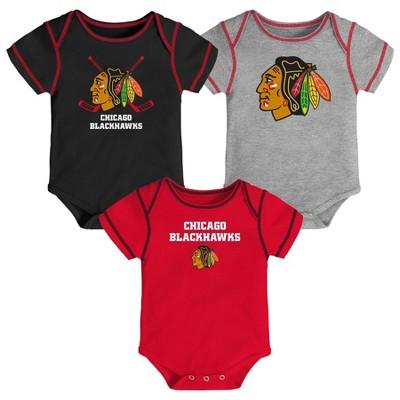 NHL Chicago Blackhawks Boys' Game Winner 3pk Body Suit Set - 6-9M