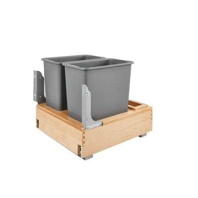 Rev-A-Shelf 4WCBM-2430DM-2 Double 30-Quart Maple Bottom Mount Kitchen Pullout Waste Container Trash Cans with Soft Open & Close Slide System, Silver