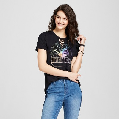 cee5a93a7 Women's Jimi Hendrix® Short Sleeve Lace-Up Neck Graphic T-Shirt (Juniors')  - Black : Target