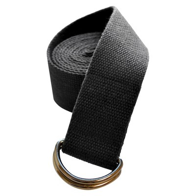 DragonFly Studio Cotton D-Ring Yoga Strap - Black