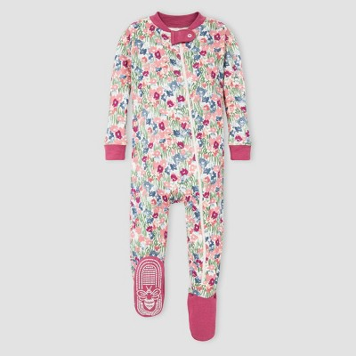 Burt's Bees Baby® Baby Girls' Floral Organic Cotton Footed Pajama - Pink 3-6M