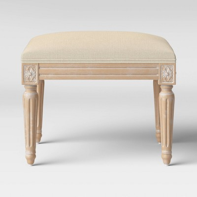 Erwin Turned Wood Leg Ottoman Beige - Threshold™