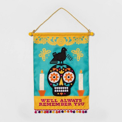 Día de Muertos Reversible Bilingual Fabric Remembrance Wall Tapestry - Designed with Luis Fitch