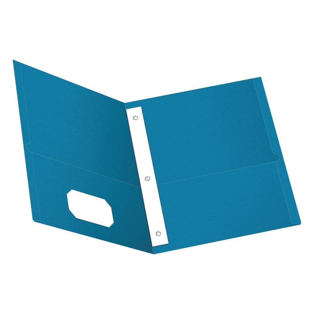 Image of Paper Folder with Prongs 2 Pocket Light Blue - Oxford