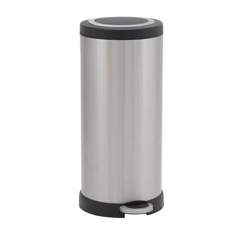 Household Essentials 30L Round Design Trend Step Trash Can Stainless Steel - image 1 of 4