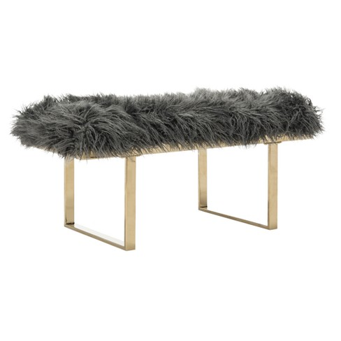 Maia Faux Lamb Bench - Safavieh® - image 1 of 4