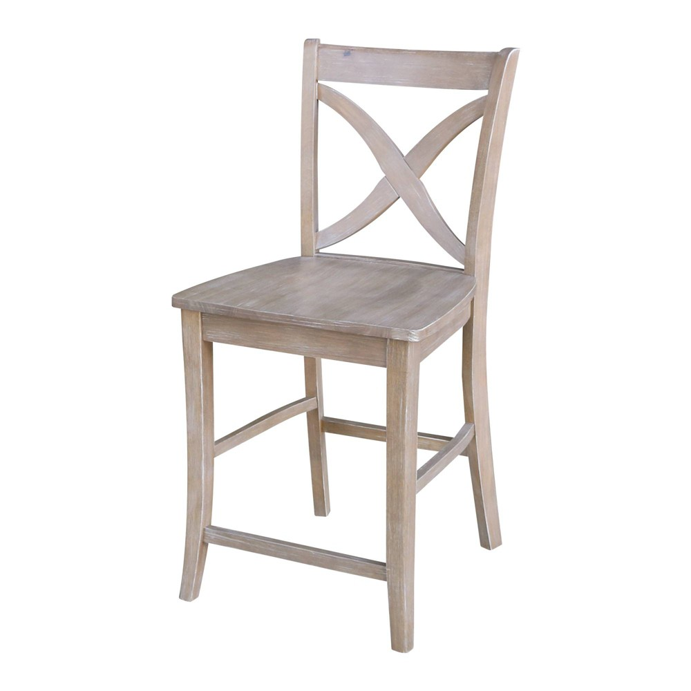 24 Cosmo X Back Counterheight Stool Washed Gray Taupe - International Concepts