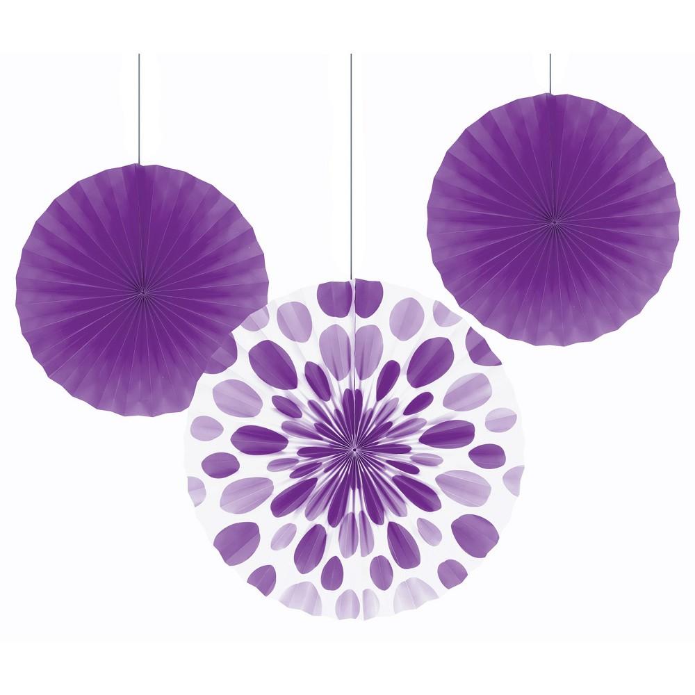 3ct Creative Converting Amethyst Purple Paper Fan Set, Women's
