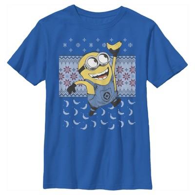 Boy's Despicable Me Ugly Christmas Minons Banana T-Shirt