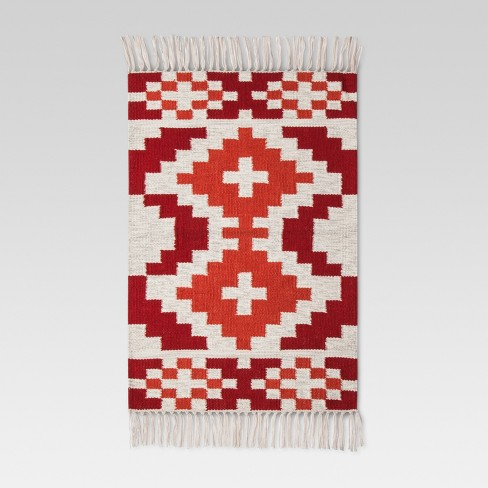 Red Diamond Woven Accent Rug - (2'x3') - Threshold™ - image 1 of 2