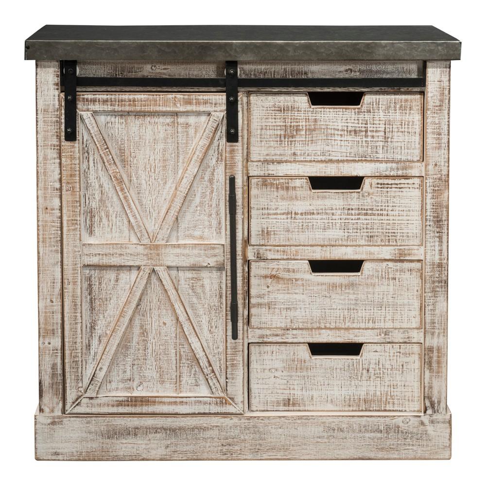 Wooden/Metal 1 Door & 4 Drawers Cabinet Brown - Home Source Industries
