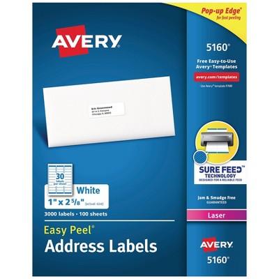 "Avery Easy Peel Laser Address Labels 1"" x 2 5/8"" White 30 Labels/Sheet 209882"