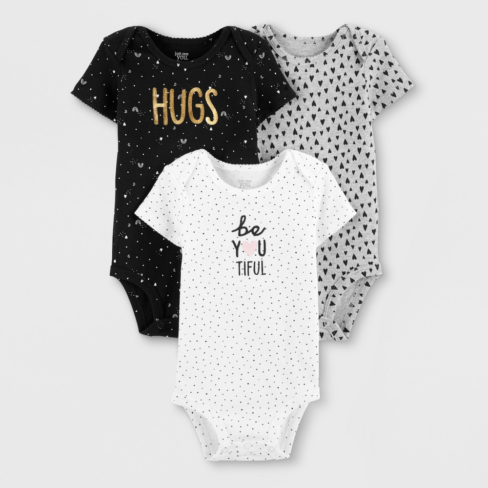Baby Girls' 3pk Bodysuits - Just One You made by carter's Gray/Black/White Newborn