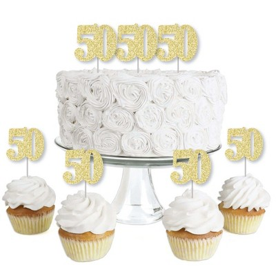 Big Dot of Happiness Gold Glitter 50 - No-Mess Real Gold Glitter Dessert Cupcake Toppers - 50th Birthday Party Clear Treat Picks - Set of 24