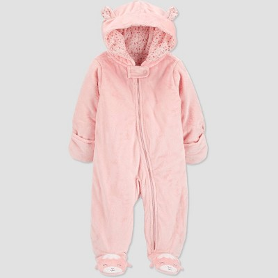 Baby Girls' Pram Sheep Footed Snowsuit Pajamas - Just One You® made by carter's Pink Newborn