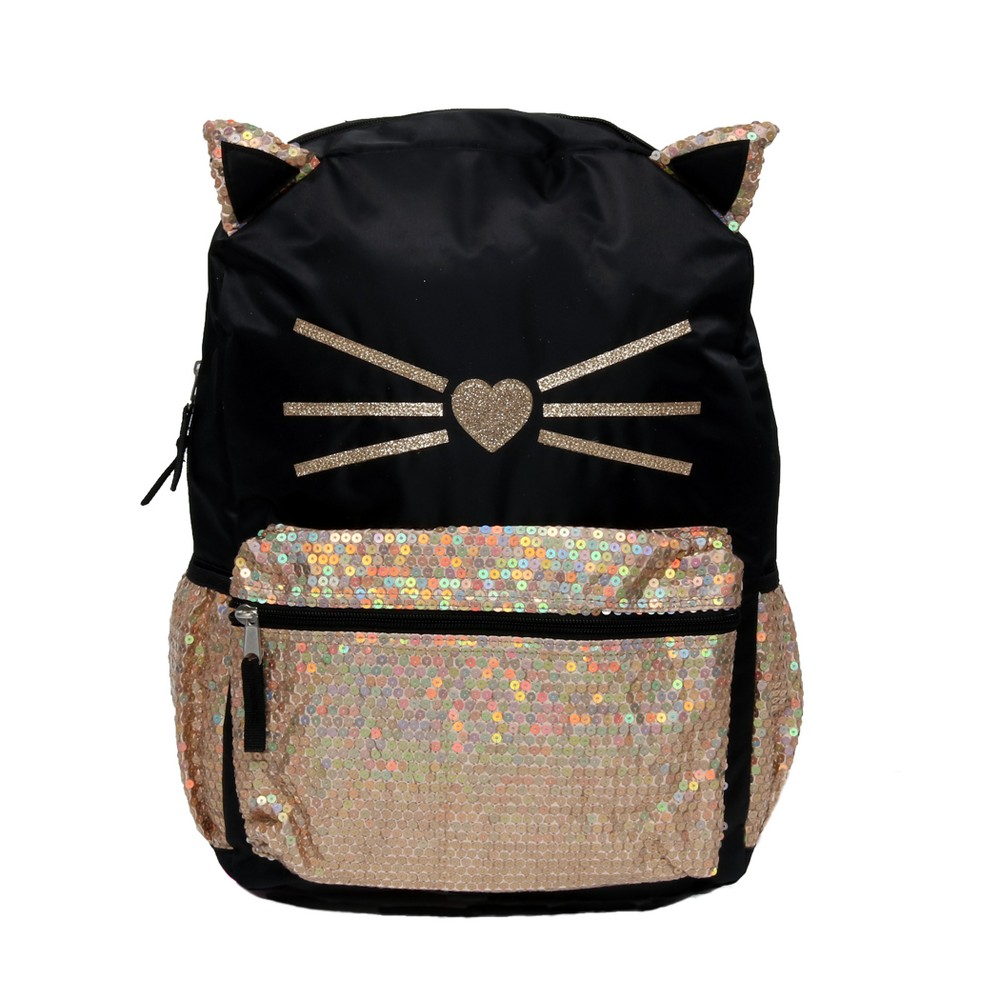 Fashion 17 Sequin Critters Prettiest Kitty Backpack - Black Super cute sequin Kitty backpack adds whimsical charm to your back to school gear. Our 17 inch backpack featuring 3-D sequin trimmed ears topping off the bag and a front sequin pocket allows for additional storage. Color: Black. Gender: Female. Pattern: Cat.
