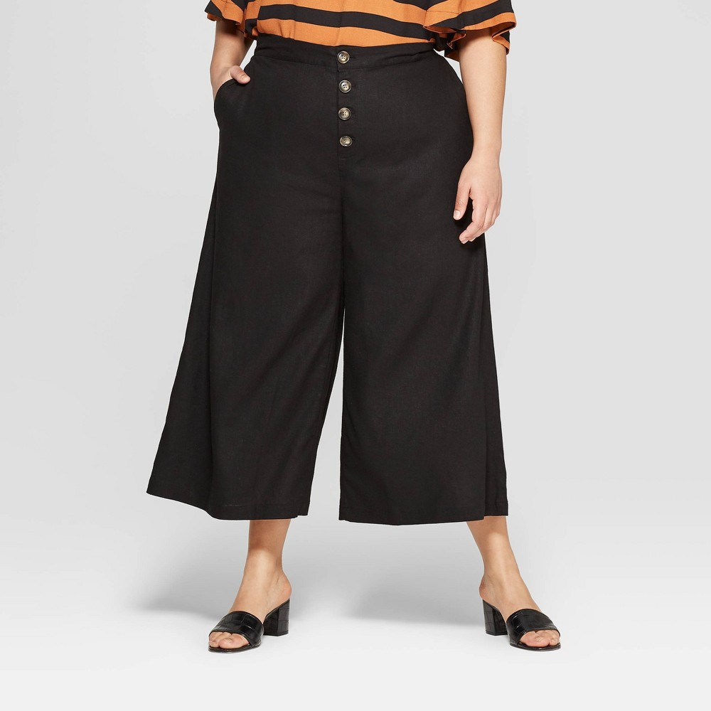 Women's Plus Size Button Front Wide Leg Palazzo Pants - Who What Wear Black 16W