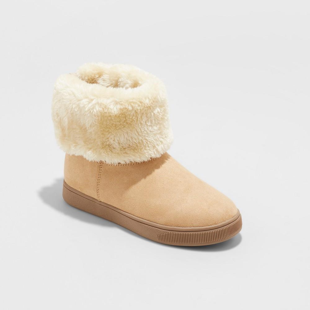 Girls' Liah Folder Over Convertible Fleece Fashion Boots - Cat & Jack Chestnut (Brown) 13