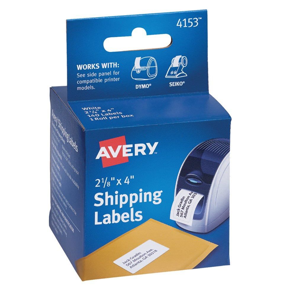Avery Thermal Printer Labels, Shipping, 2-1/8 x 4, White, 140/Roll, 1 Roll/Box