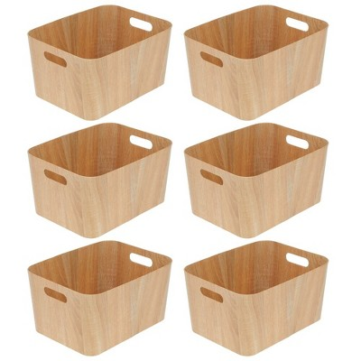 mDesign Wood Grain Kitchen Food Storage Bin with Handles - 6 Pack