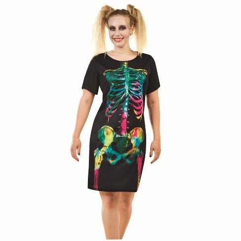 Northlight Skeleton Adult Women's Multi-Colored Dress Halloween Costume - Small - image 1 of 1