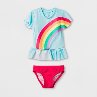 Baby Girls 2pc Short Sleeve Rainbow Rash Guard Set - Cat & Jack™ Blue 18M
