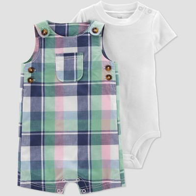 Baby Boys' Plaid Top & Bottom Set - Just One You® made by carter's Blue/Pink 3M