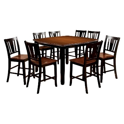 Sun U0026 Pine 9pc Curved Edge Counter Dining Table Set Wood/Cherry And Black