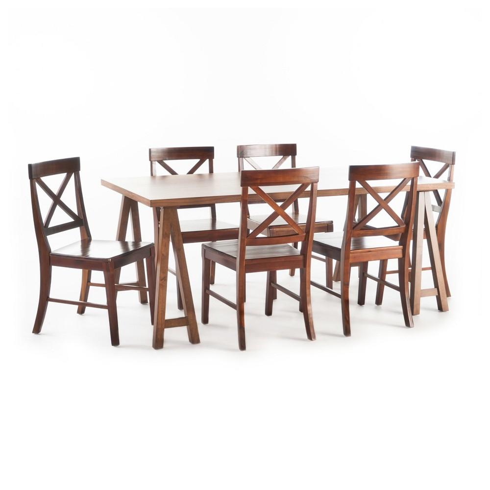 Donny 7pc Farmhouse Dining Set - Walnut (Brown)/Mahogany - Christopher Knight Home